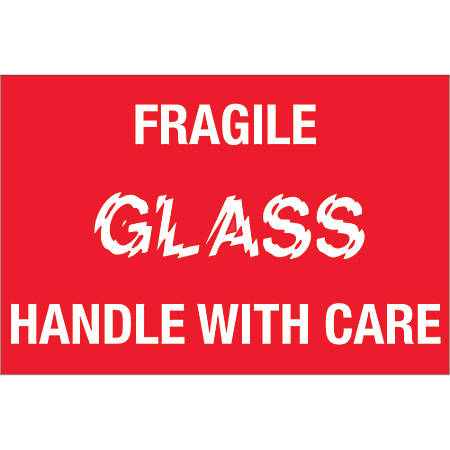 """Tape Logic® Preprinted Labels, DL1066, Fragile — Glass — Handle With Care, Rectangle, 2"""" x 3"""", Red/White, Roll Of 500"""