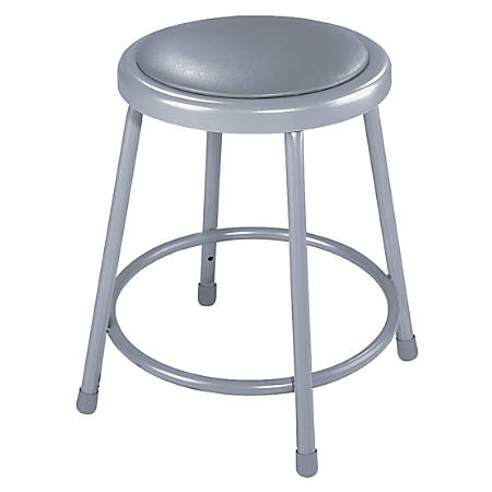 "National Public Seating Vinyl-Padded Stool, 18""H, Gray"
