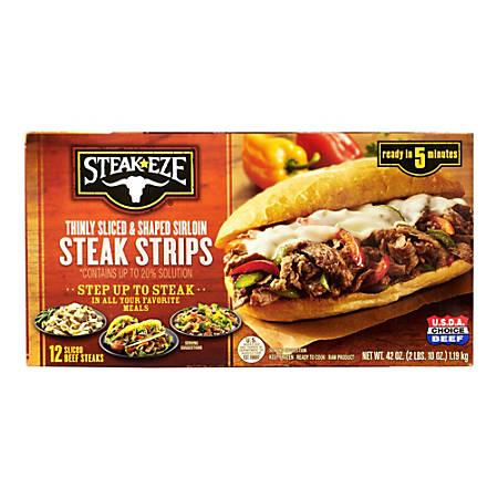 Steak-EZE Thin Sliced Sirloin Beef Steaks, 42 Oz, Pack Of 12 Steaks