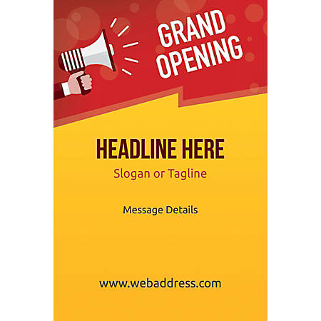Adhesive Sign, Grand Opening Announcement, Vertical