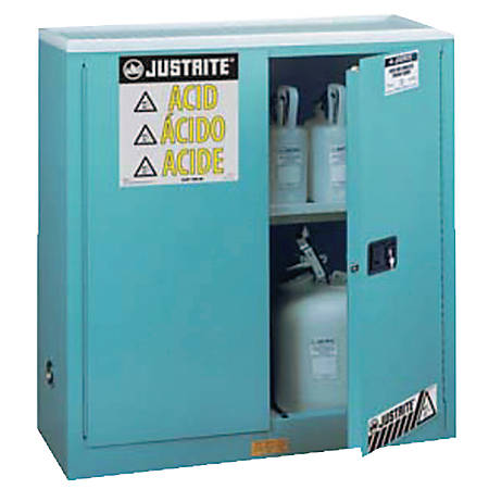 Blue Steel Safety Cabinets for Corrosives, Manual-Closing Cabinet, 30 Gallon