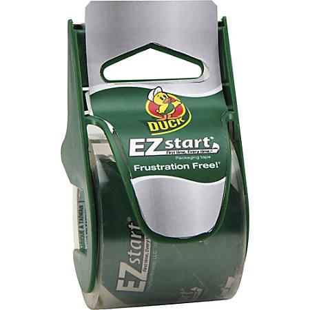 """Duck Brand EZ Start Packaging Tape Dispenser - 1.88"""" Width x 66.60 ft Length - 2.60 mil - Dispenser Included - 1 / Roll - Clear"""