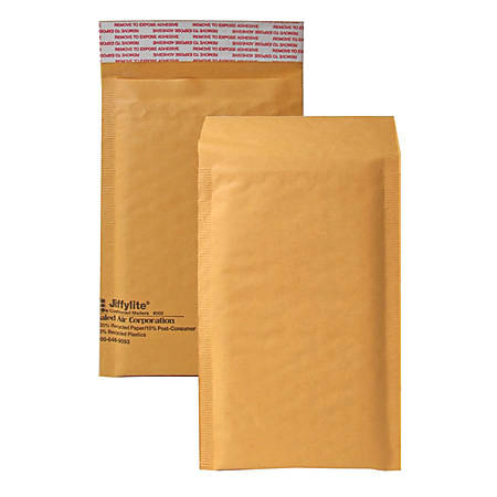 """Sealed Air Jiffylite Self-Seal Bubble Mailers, Size #000, 4"""" x 8"""", 100% Recycled, Satin Gold, Pack Of 25"""