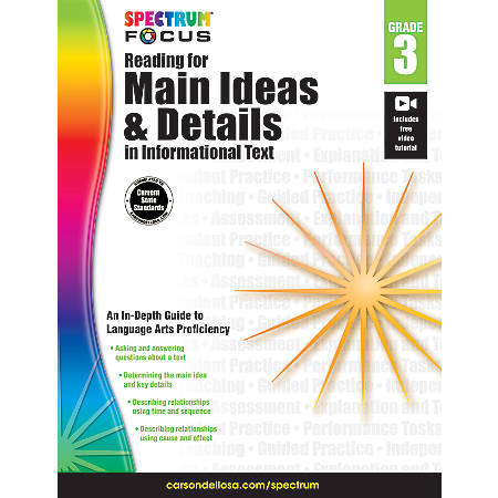 Spectrum® Reading For Main Ideas And Details In Informational Text Workbook, Grade 3
