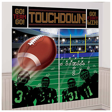 "Amscan Plastic Football Scene Setter Wall Decorating Kit, 59"" x 32-1/2"", 3 Per Pack, Carton Of 5 Packs"