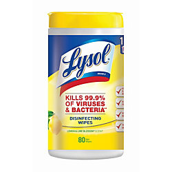 Lysol® Disinfecting Wipes, Lemon And Lime Blossom Scent, Tub Of 80 Sheets
