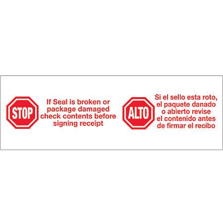 "Tape Logic® Preprinted Stop/Alto Carton Sealing Tape, 3"" Core, 2"" x 110 Yd., Red/White, Case Of 6"
