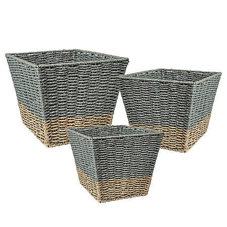 Honey Can Do Square Nesting Seagrass 2-Color Baskets, Natural & Gray, Set Of 3