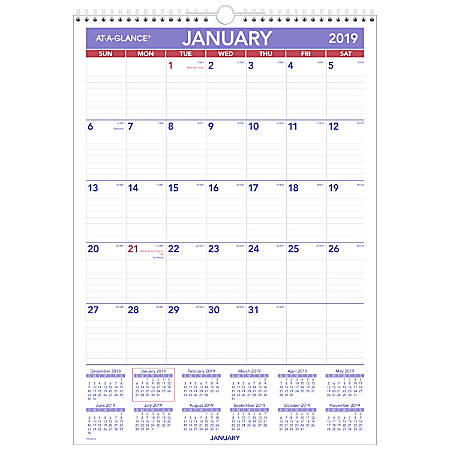 """AT-A-GLANCE® Erasable Monthly Wall Calendar, 12"""" x 17"""", 30% Recycled, January to December 2019"""