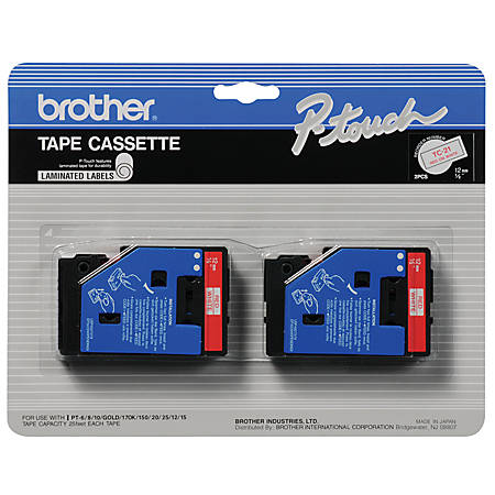"Brother® TC-21 Red-On-White Tapes, 0.5"" x 25', Pack Of 2"