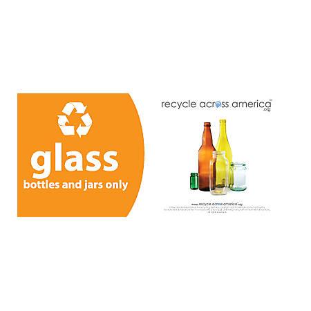 """Recycle Across America Glass Standardized Recycling Label, GLASS-0409, 4"""" x 9"""", Orange"""