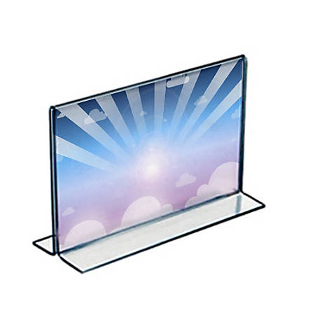 """Azar Displays Double-Foot Acrylic Sign Holders, 5 1/2"""" x 8 1/2"""", Clear, Pack Of 10"""