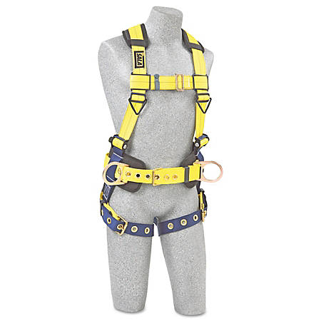 DBI-SALA® Delta™ No-Tangle™ Harness, 2 Waist D-Rings/Back D-Ring, Large, Navy/Yellow