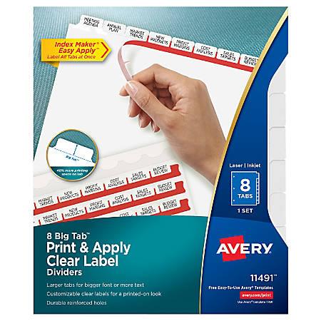 Avery®Index Maker® Big Tab Clear Label Dividers, 8-Tab Set