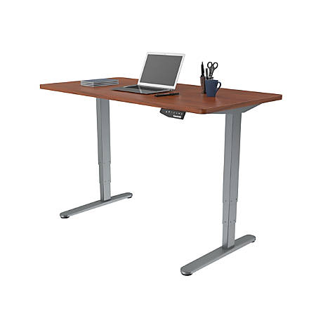 Loctek Electric Height-Adjustable Stand-Up Desk, Gray/Mahogany