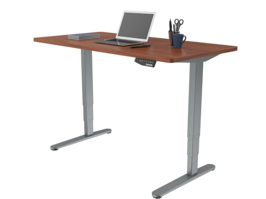 Loctek Electric Height Adjustable Stand Up Desk, Gray/Mahogany. Use + And    Keys To Zoom In And Out, Arrow Keys Move The Zoomed Portion Of The Image