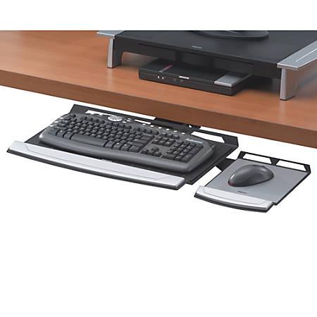 Fellowes® Office Suites Adjustable Underdesk Keyboard Tray, Black/Silver