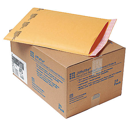 "Sealed Air Jiffylite Self-Seal Bubble Mailers, Size #5, 10 1/2"" x 16"", 100% Recycled, Satin Gold, Pack Of 25"