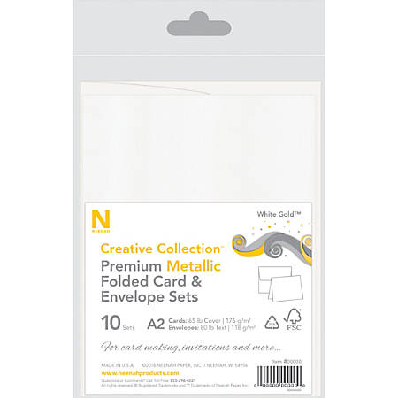 Neenah® Creative Collection™ Metallic Card And Envelope Set, A2, White Gold™, FSC® Certified, Set Of 10