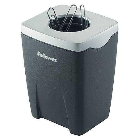 "Fellowes® Office Suites Paper Clip Cup, 3 1/4""H x 2 7/16""W x 2 3/16""D, Black/Silver"