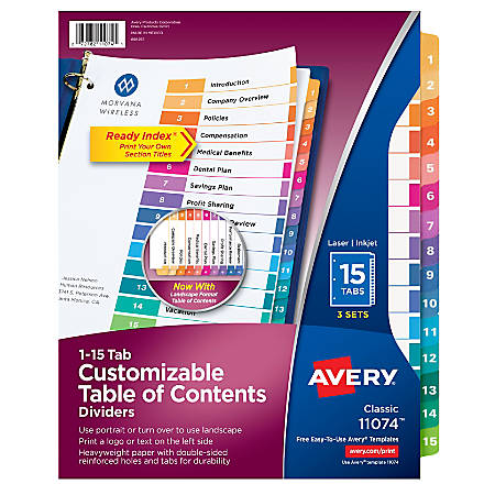 Avery® Ready Index® 20% Recycled Table Of Contents Dividers, 15-Tab, Multicolor, Pack Of 3 Sets