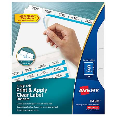 Avery®Index Maker® Big Tab Clear Label Dividers, 5-Tab Set