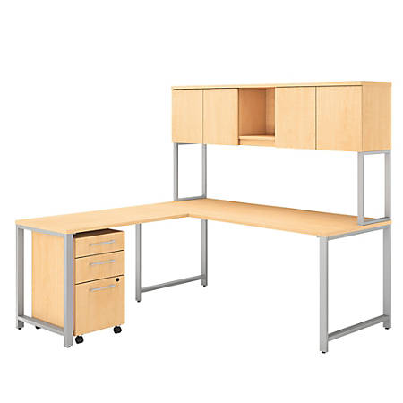 """Bush Business Furniture 400 Series L Shaped Desk And Hutch With 42""""W Return And 3 Drawer Mobile File Cabinet, Natural Maple, Premium Installation"""