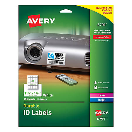 """Avery® Durable Permanent ID Labels, 6791, 1 1/4"""" x 1 3/4"""", White, Pack Of 256"""