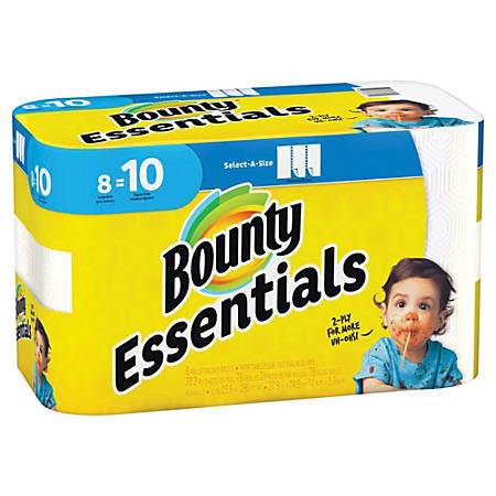 "Bounty Essentials 2-Ply Paper Towels, Select-A-Size, 11"" x 5 7/8"", White, 40 Sheets Per Roll, Carton Of 8 Rolls"
