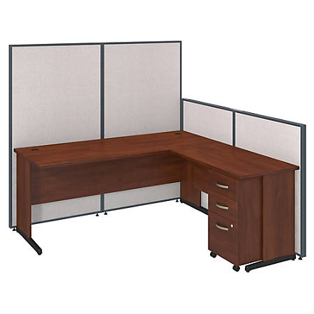 "Bush Business Furniture Components Elite 72""W C Leg L Shaped Desk And 3 Drawer Mobile Pedestal With ProPanels, Light Gray, Standard Delivery"