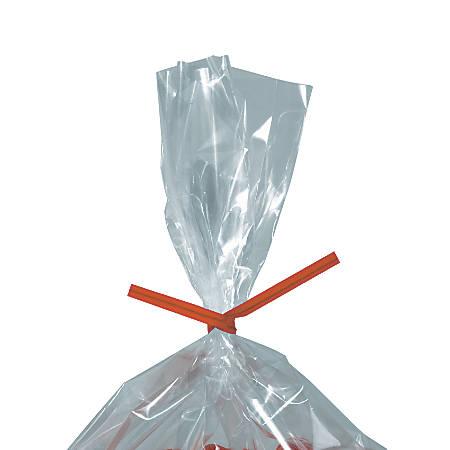 "Partners Brand Paper Twist Ties, 5/32"" x 4"", Orange, Case Of 2,000"