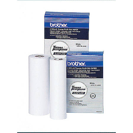 "Brother® High-Sensitivity ThermaPlus Fax Paper, 1"" Core, 8 1/2"" x 98', Box Of 2 Rolls"