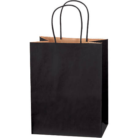 """Partners Brand Tinted Shopping Bags, 10 1/4""""H x 8""""W x 4 1/2""""D, Black, Case Of 250"""
