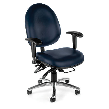 OFM 24-Hour Big And Tall Anti-Microbial Anti-Bacterial Task Chair, Navy/Black