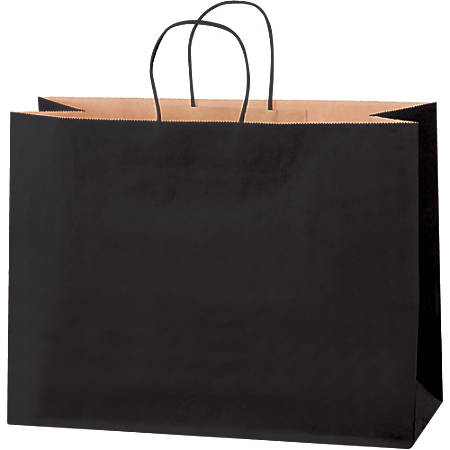 "Partners Brand Tinted Shopping Bags, 12""H x 16""W x 6""D, Black, Case Of 250"