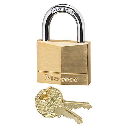 "Master Lock Solid Brass Padlock - Keyed Different - 0.25"" Shackle Diameter - Rust Resistant - Brass Body, Steel Shackle - Brass - 1 Each"