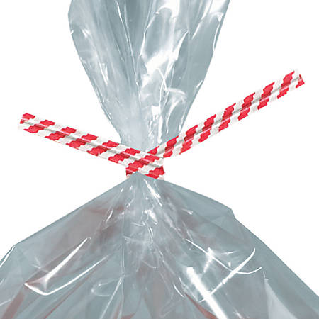 "Partners Brand Paper Twist Ties, 5/32"" x 5"", Red Stripe, Case Of 2,000"