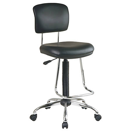 """Office Star Drafting Chair With Chrome Footrest, 50""""H x 18""""W x 24 1/2""""D, Black"""