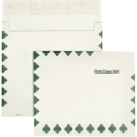 """Quality Park® Dupont™ Tyvek® Grip-Seal® Expansion Envelopes, Open Side, First Class, 10"""" x 13"""" x 2"""", White, Box Of 100"""