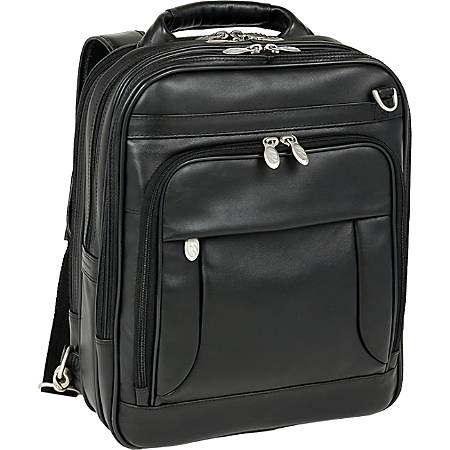 McKlein Lincoln Park Leather Convertible Computer Backpack, Black