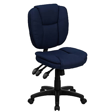 Flash Furniture Fabric Mid-Back Multifunction Ergonomic Swivel Task Chair, Navy Blue/Black