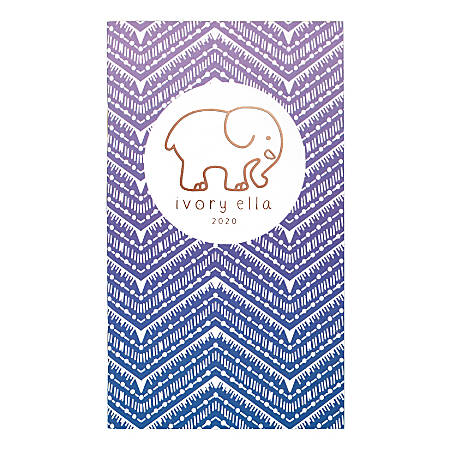 "Cambridge® Ivory Ella Ombré Chevron 24-Month Pocket Planner, 3-1/2"" x 6"", Purple, January 2020 to December 2021, 1289-021"
