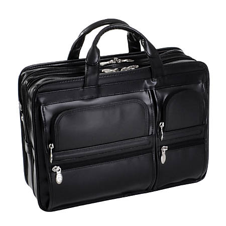 McKlein Hubbard Leather Briefcase, Black