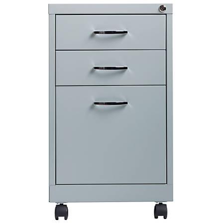 "Lorell® 19""D Vertical 3-Drawer Mobile Pedestal File Cabinet, Metal, Platinum"