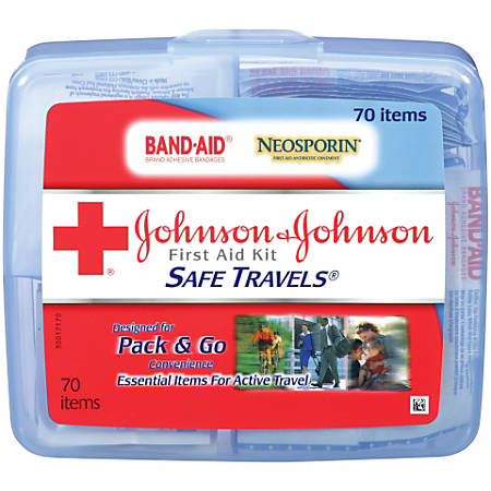 Johnson & Johnson® Safe Travels First Aid Kit, 70 Pieces