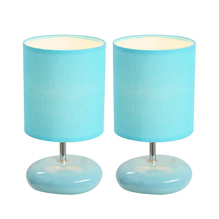 "Simple Designs Stonies Bedside Table Lamps, 10 5/8""H, Blue Shade/Blue Base, Set Of 2"