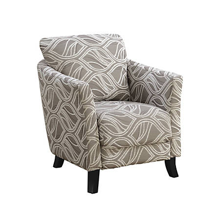 Monarch Specialties Box Seat Accent Chair Taupe Leafblack
