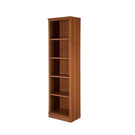 South Shore Morgan 5-Shelf Narrow Bookcase, Morgan Cherry