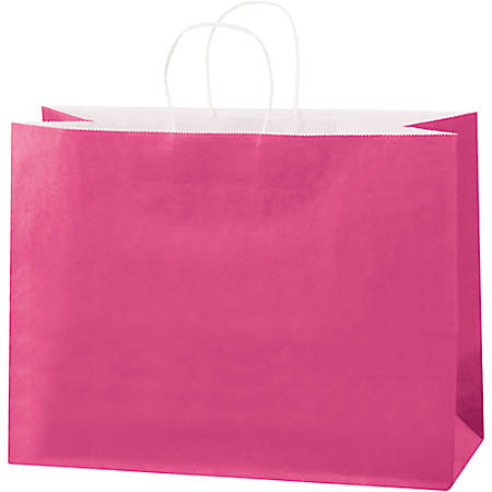 """Partners Brand Tinted Paper Shopping Bags, 12""""H x 16""""W x 6""""D, Cerise, Case Of 250"""