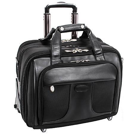 McKlein Chicago Wheeled Nylon Laptop Case With Removable Briefcase, Black